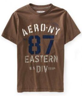 Aeropostale Mens Aero NY87 Military Graphic T Shirt   Size (Large, Frappe) Clothing