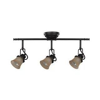 Canarm IT285A03ORB10 Vision Dark Tea Stained Glass 3 Bulb Light Dropped Track Lighting, Oil Rubbed Bronze