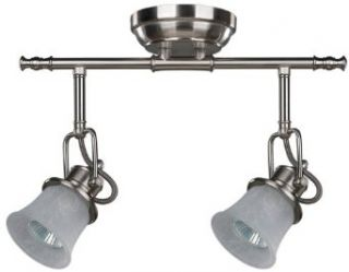 Canarm IT285A02BPT10 Vision White Tea Stained Glass 2 Bulb Light Dropped Track Lighting, Brushed Pewter