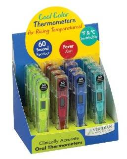 Veridian Healthcare 08 301VC Cool Colors Digital Thermometer Display, Blue, Green, Red and Yellow Health & Personal Care