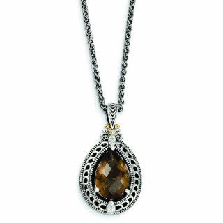 Sterling Silver with 14k Gold Diamond & Smokey Quartz Necklace   Antique Boutique   Vintage Style   Jewelry: Reeve and Knight: Jewelry