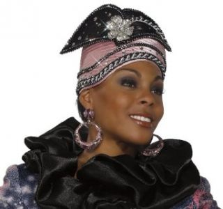 Womens Donna Vinci Special Occasion First Lady Hat in Black and Mauve H1393 Clothing