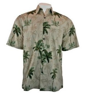 Go Barefoot Peached Cotton, Sand & Green Colored, Short Sleeve, Banded Collar, Old School Hawaiian Style Men's Shirt with Batch Pockets, Side Vents and Matching Coconut Buttons   Coconut Tree (Small) Clothing