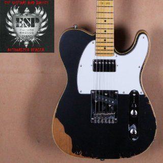 ESP LTD Distressed Series TE 202 Electric Guitar   Black: Musical Instruments
