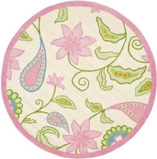 Safavieh Kids Collection SFK351A Handmade Ivory and Pink New Zealand Wool Round Area Rug, 6 Feet