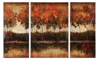 Uttermost Trilakes Canvas Art Set/3   Oil Paintings