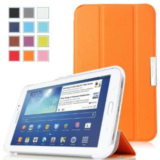MoKo Samsung Galaxy Tab 3 7.0 Case   Ultra Slim Lightweight Smart shell Stand Case for Samsung Galaxy Tab 3 7.0 inch SM T2100 / SM T2110 Android Tablet, ORANGE (WILL NOT Fit Samsung Galaxy Tab 4 7.0) Computers & Accessories