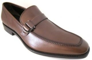 Salvatore Ferragamo Teo Mens Brown Leather Loafers Shoes 11 D(M) US Made in Italy Shoes