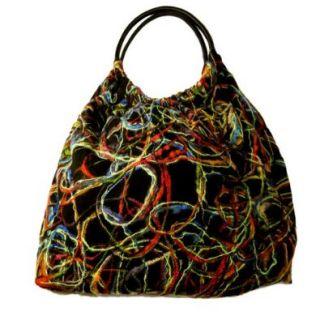 Echo Design Color Block Woven Sack Handbag: Shoes