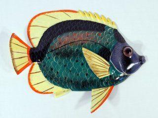 "BIG 12"" Tropical Fish Tiki Sea Life Bath Wall Decor Green Body   Head Sculptures"