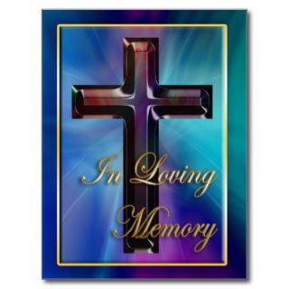 In Loving Memory Mother of Pearl Cross Postcard