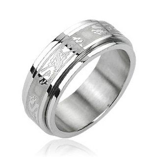 316L Stainless Steel Double Dragon Center Spinner Ring: West Coast Jewelry: Jewelry
