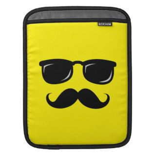 Funny incognito smiley mustache trendy hipster iPad sleeves