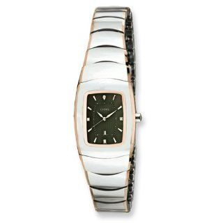 Chisel Ladies Chisel Tungsten with Rose Gold Plated Edge/Gray Watch Watches