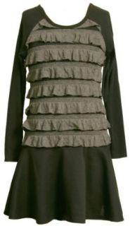 Bonnie Jean  Girls 7 16 Ruffle Knit Bodice To Black Skirt,Grey,8 Clothing