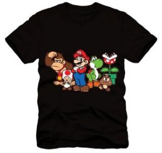 Super Mario Group Characters Black Men's T shirt (Regular) Clothing