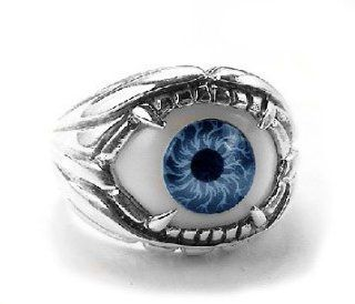Sterling Silver Fanged Gothic Eyeball Eye Ring Size 11(Sizes 8,9,10,11,12,13) Jewelry