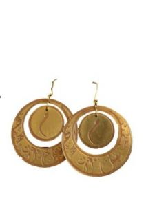 """Arabic Calligraphy """"M"""" Earring (Brass): Clothing"""
