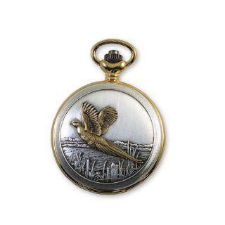 JD Manoir Slvr tone Wht Dial Quartz Flying Pheasant Pocket Watch: Jacques du Manoir: Watches