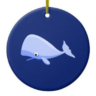 Blue Cartoon Whale Christmas Ornament