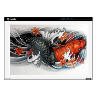 Red black gold japanese koi fish tattoo postcards for Black and gold koi fish