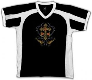 Cross And Barbed Wire Mens Tattoo Jersey Style T shirt, Cross Wrapped With Barbed Wire, Flowers, Spurs Old School Tattoo Sport Shirt: Clothing