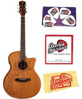 Luna Oracle Series Tattoo Grand Concert Acoustic Electric Guitar Bundle with Strings, Pick Card, and Polishing Cloth: Musical Instruments