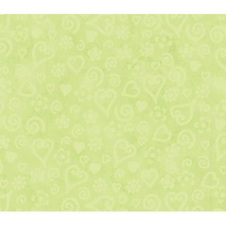 Whimsical Childrens Vol. 1 Tonal Hearts Wallpaper in Lime
