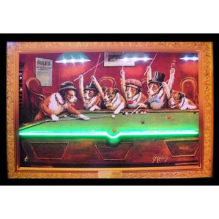 Neonetics Dogs Playing Pool Neon LED Poster Sign