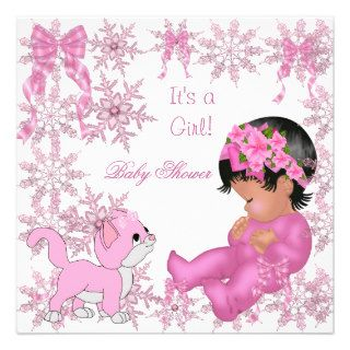 African American Baby Shower Girl Cute Kitten Invitations