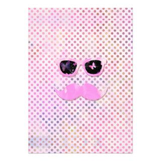 Funny Mustache Hipster Glasses Pink Polka Dots Personalized Invite