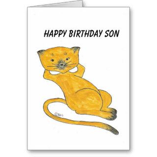 Kickback Kenny Kitten, Happy Birthday Son Card