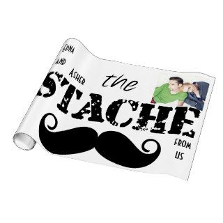 The Stache Mustache Retro Hipster Wrapping Paper