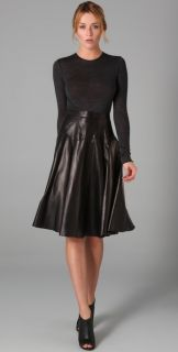 Derek Lam Long Sleeve Leather Dress with Jersey Bodice