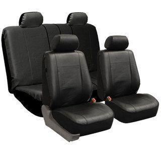 FH Group   Fundas para asiento tipo banco, cuero de poliuretano, modelo universal, set Full, negro liso FH Group Car Seat Covers