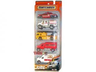 2010 2011 MATCHBOX 5 PACK, FIRE cars #9: Ford Crown Victoria, International WorkStar Brush Fire Truck, Fire Engine, MBX Tanker, Ford E 350 Ambulance