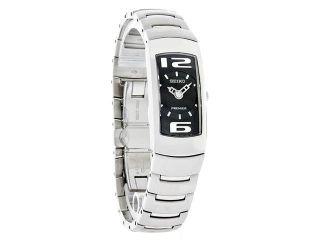 Seiko Quartz Ladies Premier Black Dial Bangle Bracelet Dress Watch SUJ413 New
