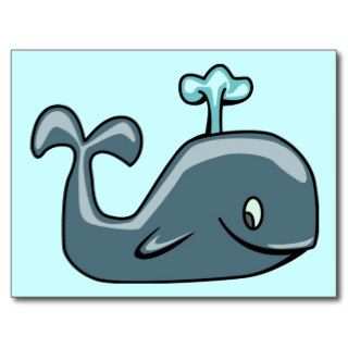 CUTE BLUEISH GREY GRAY WHALE CARTOON ANIMAL SEALI POST CARD