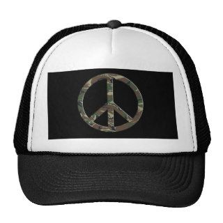 Brown Green Camo Peace Sign Trucker Hat
