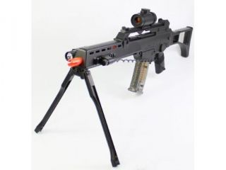 Double Eagle G36 Spring Airsoft Gun w/ Bipod, Laser, Red Dot Sight, and Flashlight 320 FPS Airsoft Gun