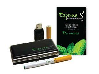 Ozone Smoke E Cigarette Mini Starter Kit OZS MK 103 MF CMB, Menthol (Full 16mg) + Menthol Flavor Cartridges (5 Pack) Combo