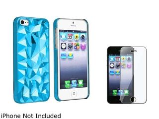 Insten Clear Blue Diamond Cut Clip on Case + Screen Protector Compatible With Apple iPhone 5 / 5s 831737
