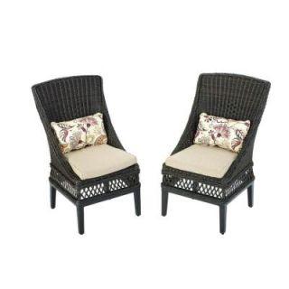 Hampton Bay Woodbury Patio Dining Chair with Textured Sand Cushion (2 Pack) DY9127 D 2