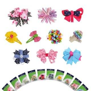 Monster 10 piece Girl Baby Toddler Ribbon Bows Mixed Design Hair